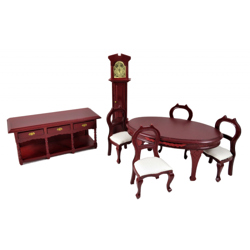 Dolls House Mahogany 6 Piece Dining Room Suite Miniature Furniture Set