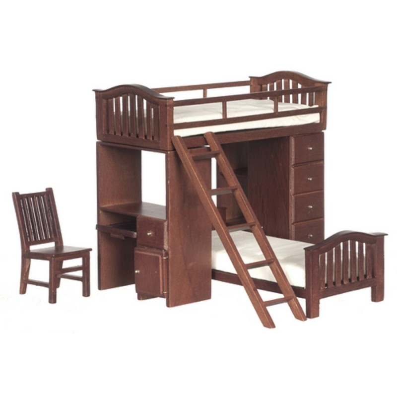 Dolls House Miniature Furniture Walnut Wood Bunk Bed Set with Desk & Chair
