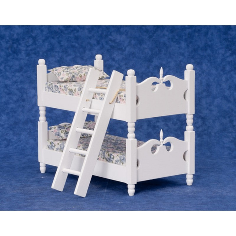 Dolls House Miniature 1:12 Bedroom Furniture White Wooden Bunk Beds Bunkbeds