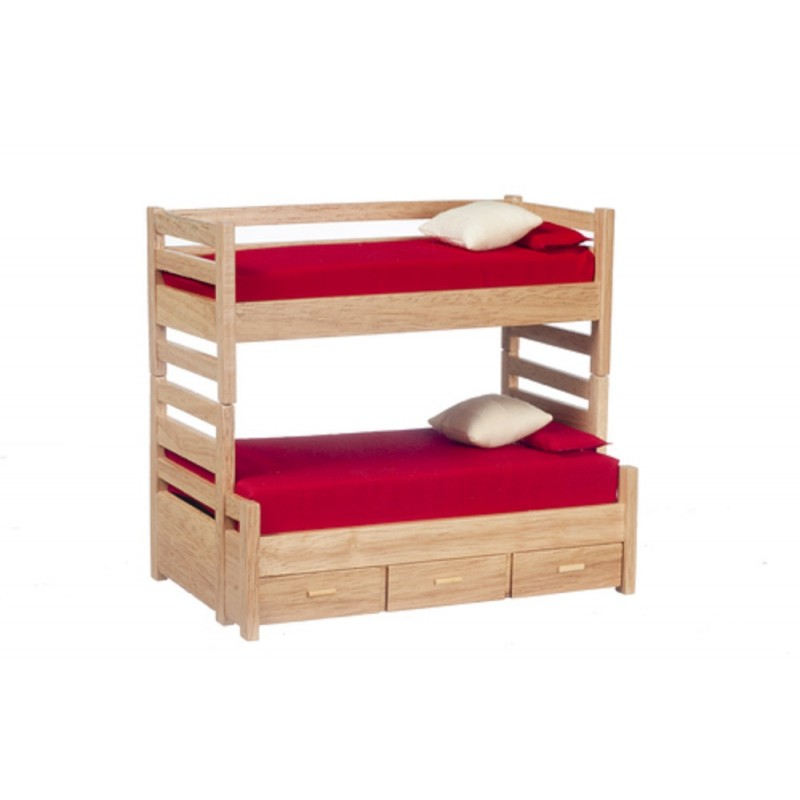 Dolls House Miniature 1:12 Bedroom Furniture Oak Bunk Beds with Trundle Bed