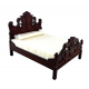 Dolls House Mahogany Fancy Victorian Double Bed Miniature Bedroom Furniture