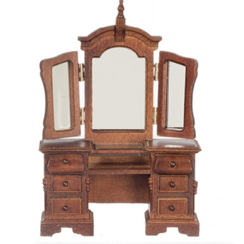 Dolls House Venetian Walnut Dressing Table 3 Panel Mirror Bedroom Furniture