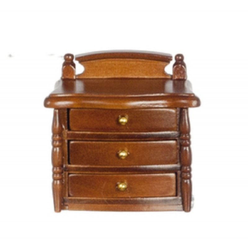 Dolls House Walnut Wood Bedside Chest Nightstand Miniature Bedroom Furniture