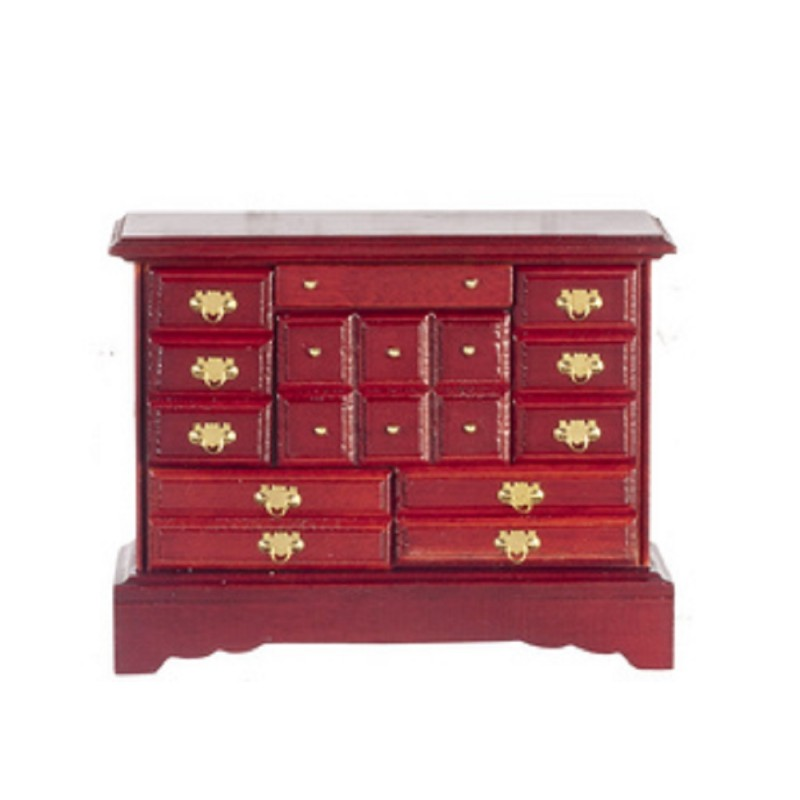 Dolls House Miniature Bedroom Furniture Mahogany Wood Trinket Chest of Drawers