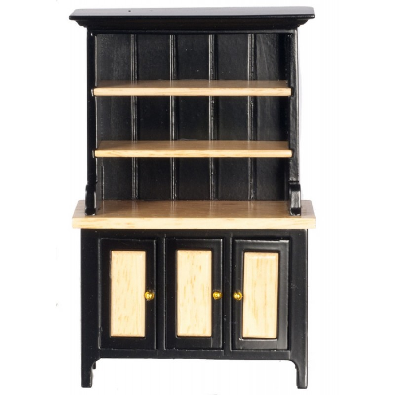 Dolls House  Black & Oak Welsh Dresser Miniature Kitchen Dining Room Furniture