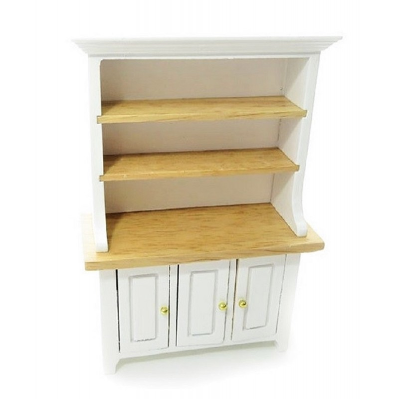 Dolls House White & Light Oak 3 Door Dresser Dining Room Kitchen Furniture