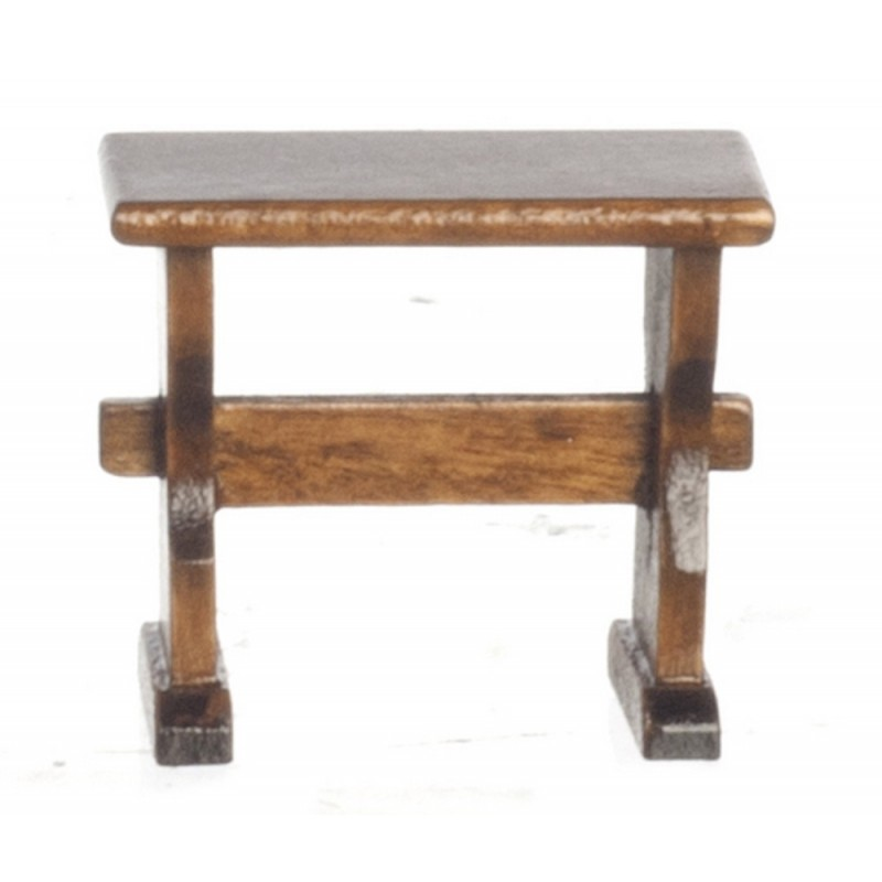 Dolls House Kitchen Dining Room Furniture Walnut Nook Trestle Bench Single Seat