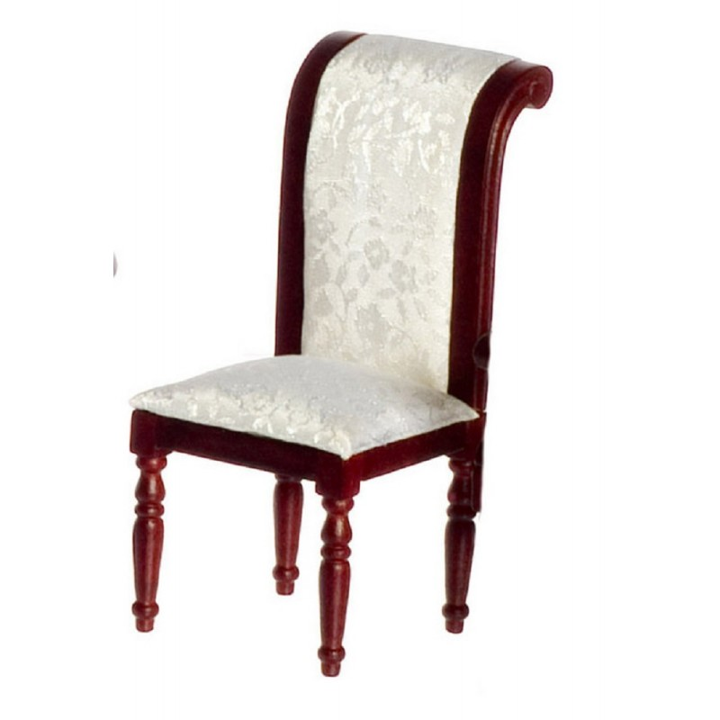 Dolls House Regency Mahogany Scroll Back Side Chair Dining Room Furniture