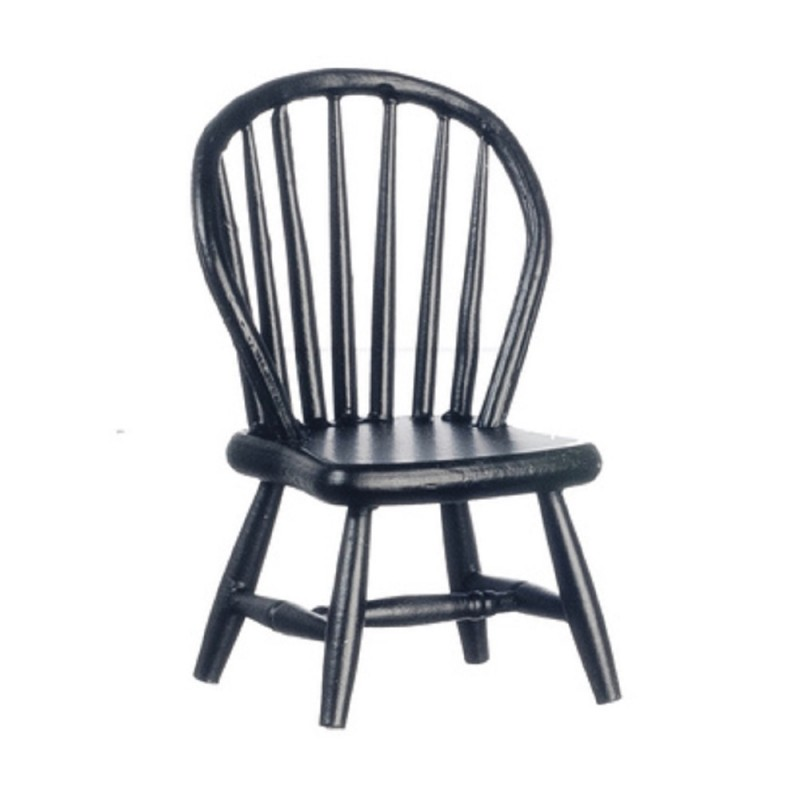 Dolls Houses Black Windsor Side Chair Miniature Kitchen Dining Room Furniture