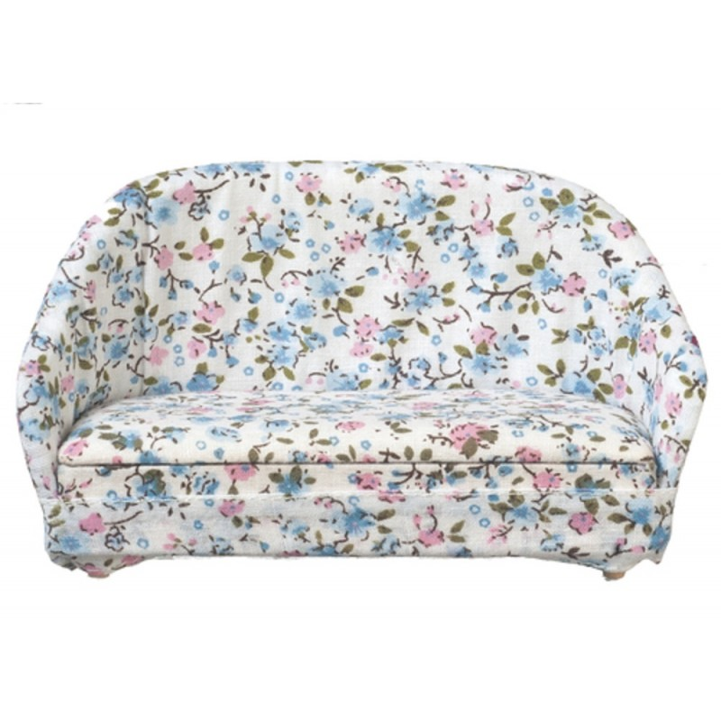 Dolls House Blue & Pink Floral Cosy Cottage Sofa Miniature Living Room Furniture