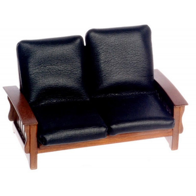 Dolls House Walnut & Black Leather Mission Sofa 1:12 Living Room Furniture