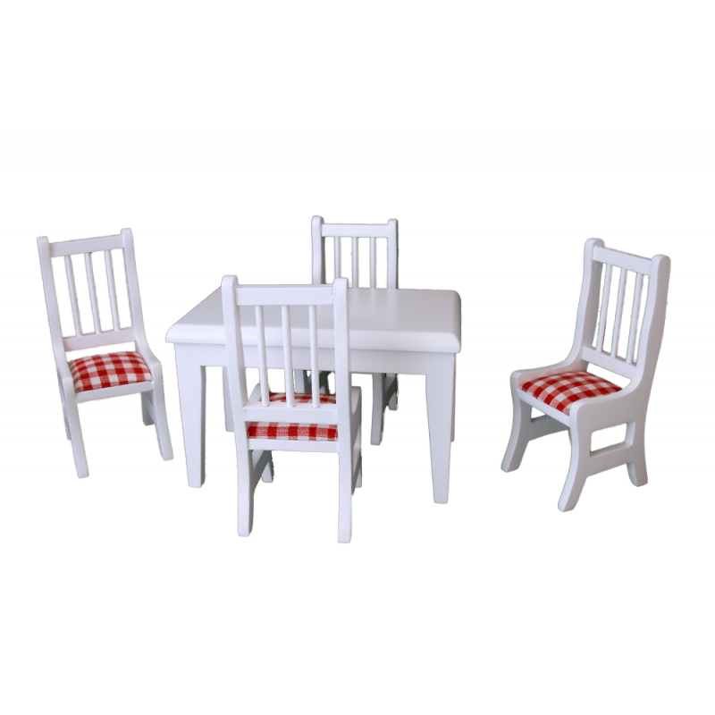 Dolls House Miniature Furniture White Wood Red Gingham Table and Chairs