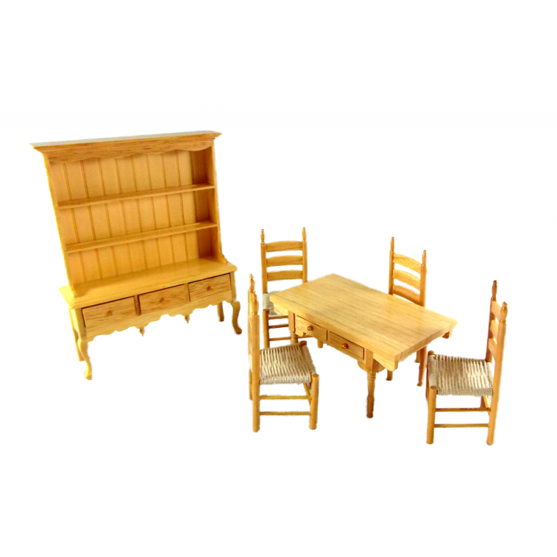 Dolls House Miniature 1:12 Scale Light Oak Wood Dining Room Furniture Set Suite