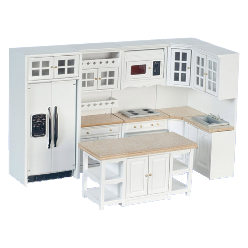 Dolls House Modern White Fitted Kitchen Furniture Set Marble Effect Worktops 8pc