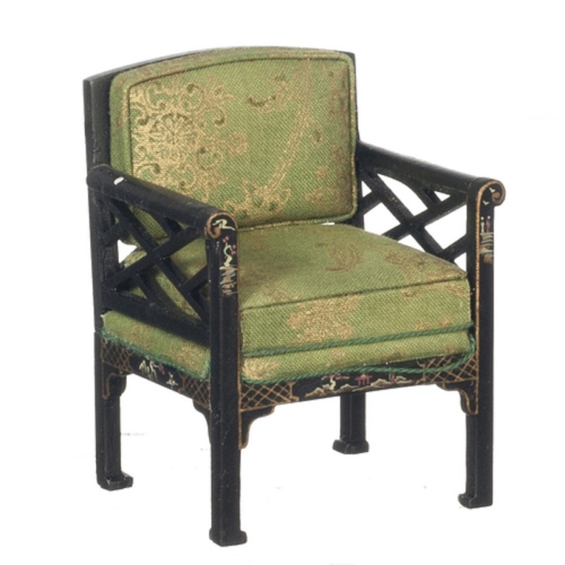 Dolls House Chinese Black Green Armchair Hand Painted JBM Living Room Furniture