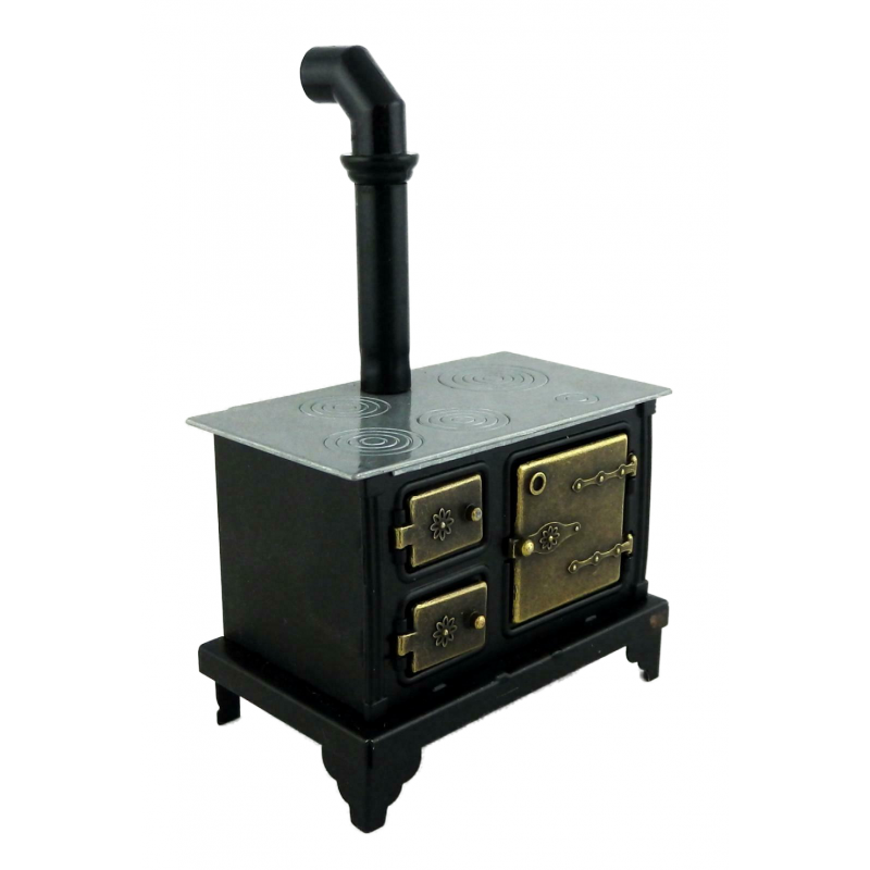 Dolls House Old Fashioned Black Range Cooker Stove Miniature Kitchen Furniture