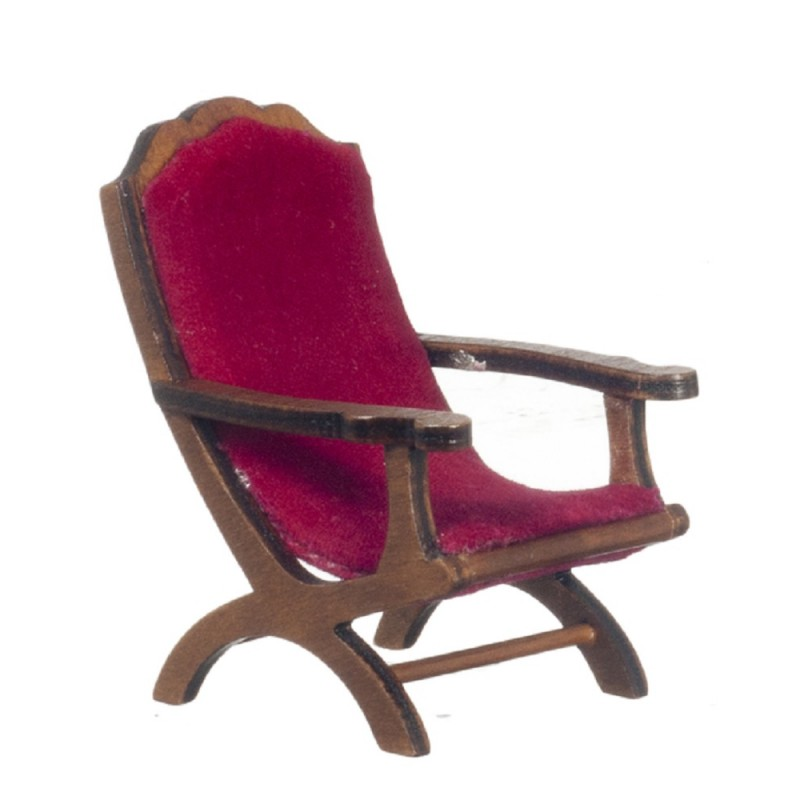 Dolls House Walnut & Red Campeachy Armchair 1:12 Chair Living Room Furniture
