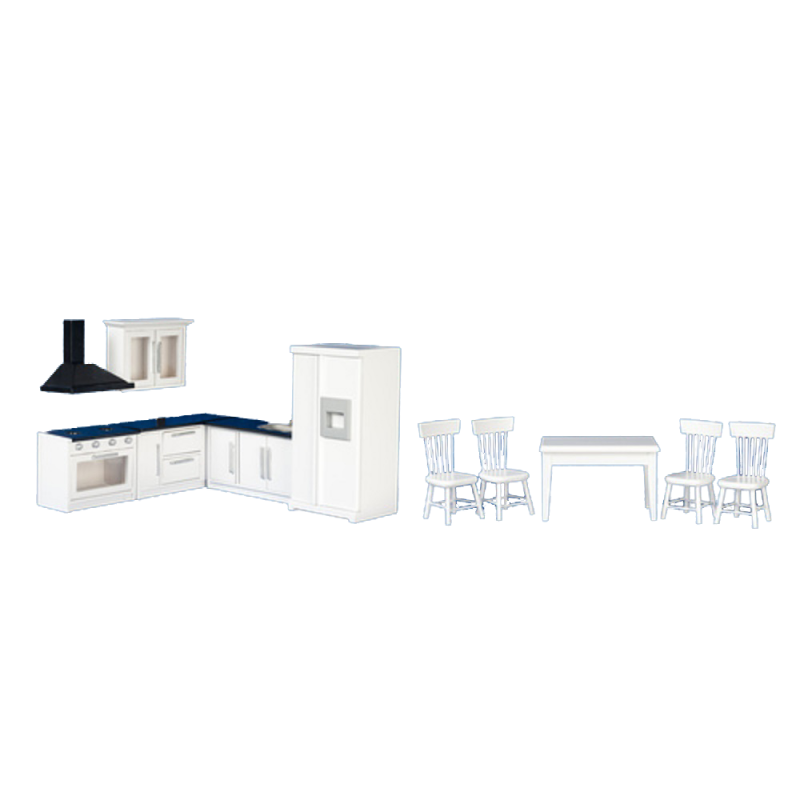 Dolls House Modern Black & White Fitted Kitchen & Dining Furniture Set Wooden