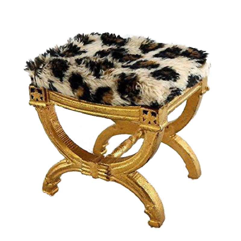 Dolls House Gold Painted Leopard Print Fur X Frame Stool Miniature JBM Furniture