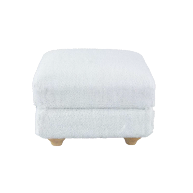 Dolls House White Velour Pouffe Ottoman Footstool Modern Living Room Furniture