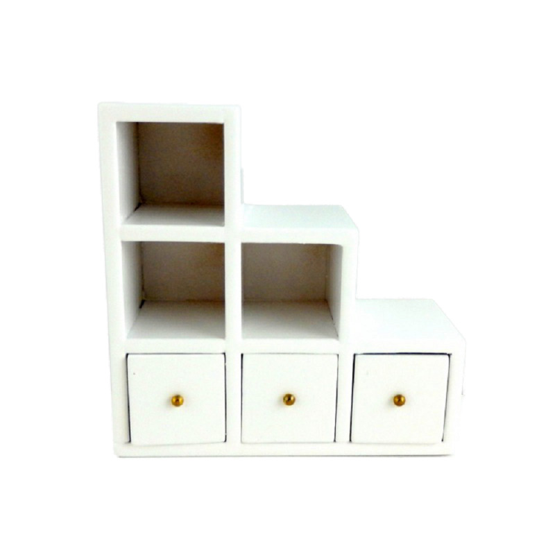 Dolls House White Modern Cube Square Box Miniature Storage Display Unit
