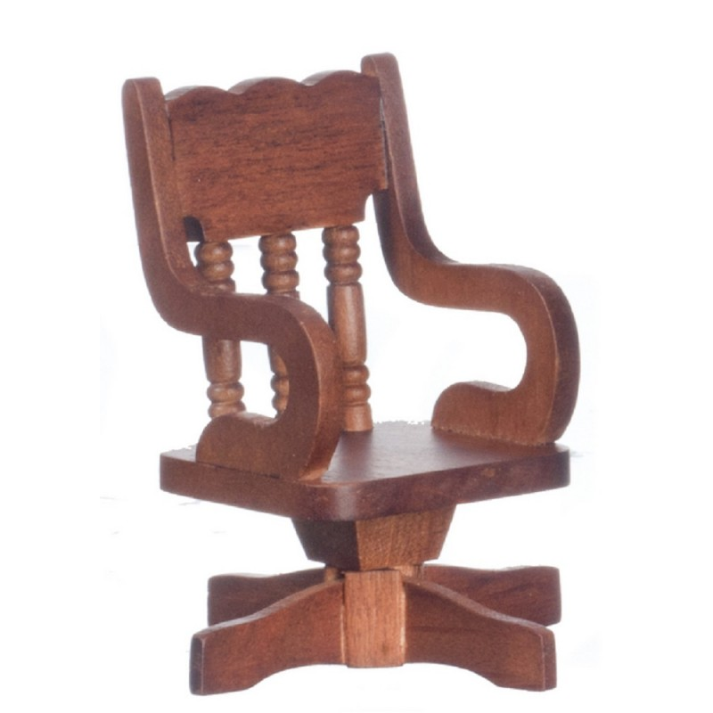 Dolls House Miniature Office Study Furniture Walnut Wooden Swivel Desk Chair