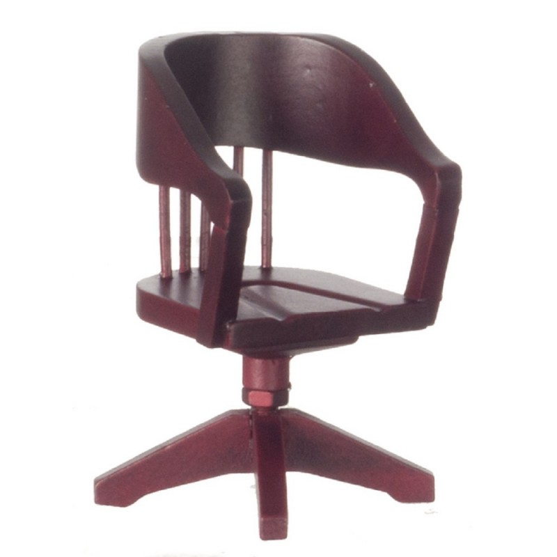 Dolls House Miniature Furniture Mahogany Swivel Office Desk Chair