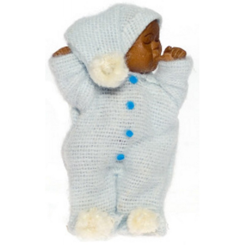 Dolls House Sleeping Baby in Blue Falcon Miniature Doll 1:12 Scale People