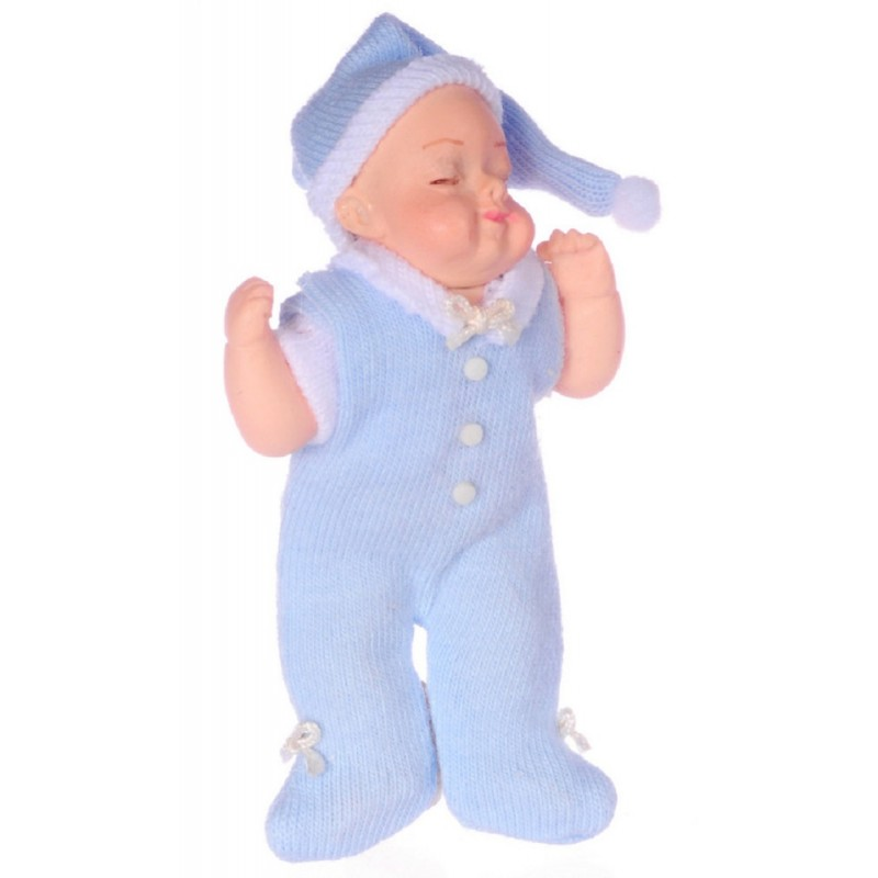 Dolls House Baby in Blue Sleeping Falcon Miniature Doll 1:12 Scale People