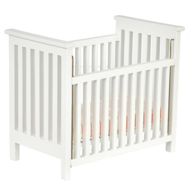 Dolls House White Slatted Cot Crib Miniature 1:12 Nursery Baby Furniture