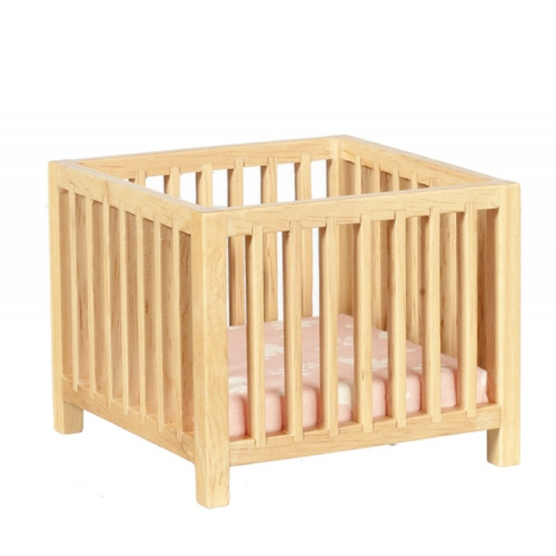 Dolls House Light Oak Slatted Play Pen Miniature Playpen Nursery Baby Furniture
