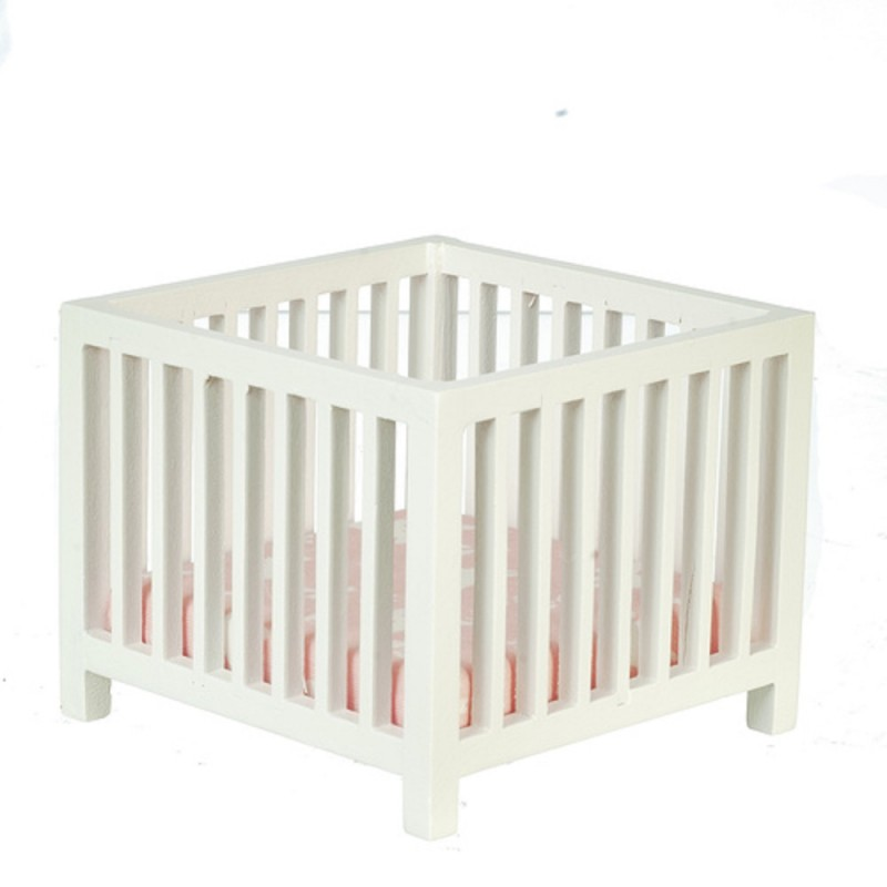 Dolls House White Slatted Play Pen Miniature Playpen Nursery Baby Furniture