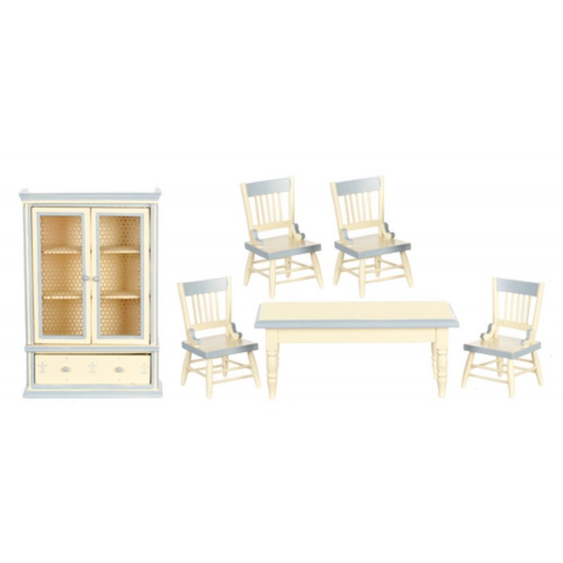 Dolls House Blue Cream Shabby Chic Dining Room Furniture Set 6 Pieces