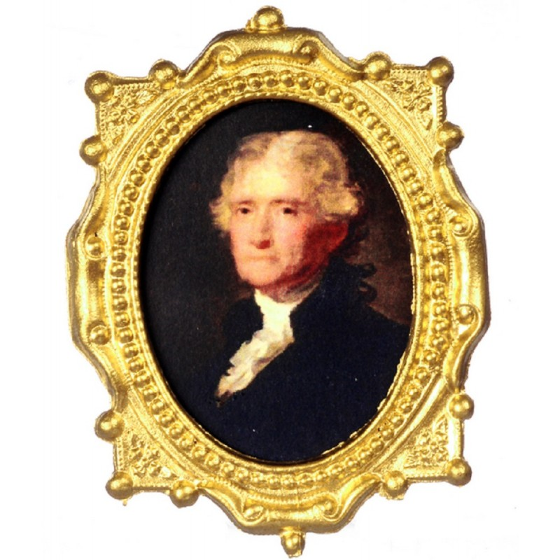 Dolls House Thomas Jefferson Portrait in Ornate Oval Frame President Picture