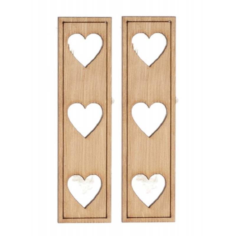 Dolls House Heart Cutout Shutters Wooden 1:12 Scale Laser Cut Window Accessory