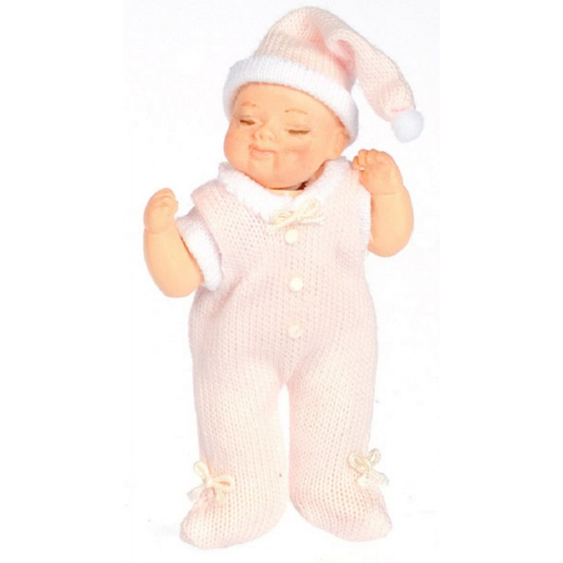 Dolls House Baby in Pink Sleeping Falcon Miniature Doll 1:12 Scale People
