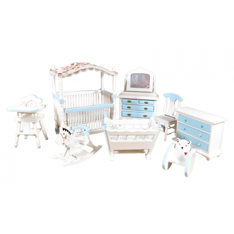 Dolls House Blue & White Nursery Furniture Set 8 Piece Miniature with Canopy Cot