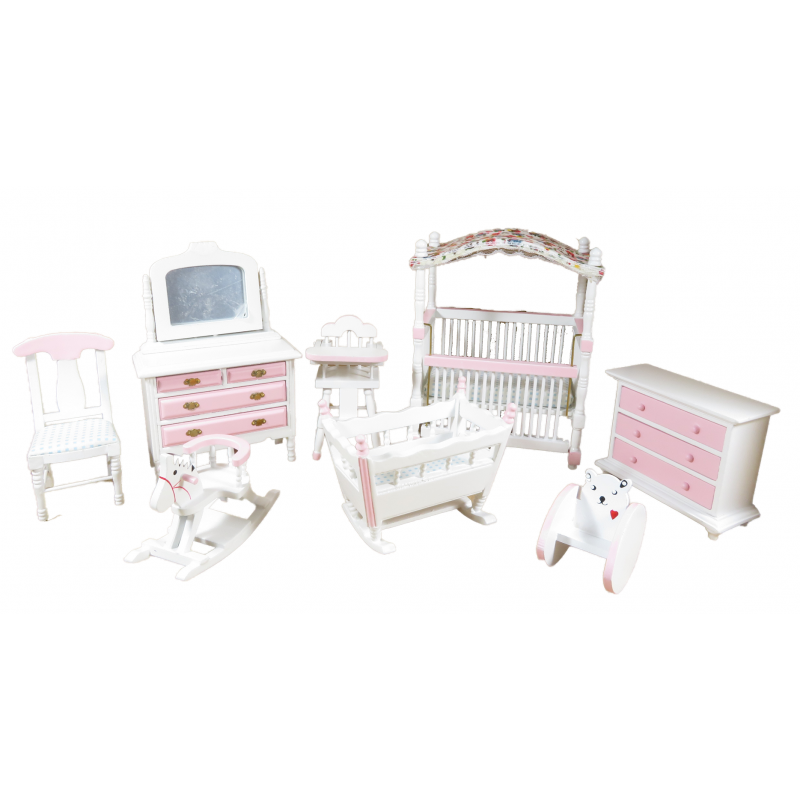Dolls House Pink & White Nursery Furniture Set 8 Piece Miniature with Canopy Cot