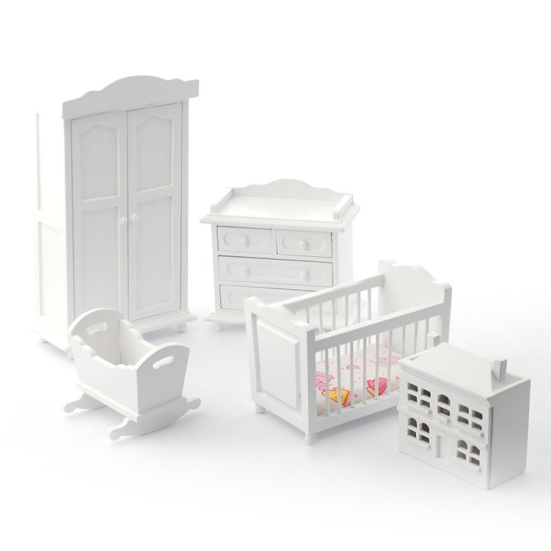 Dolls House White Wood Nursery Furniture Set Miniature 5 Piece Baby Room