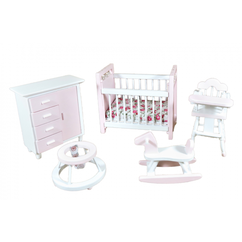 Dolls House Pink & White Nursery Furniture Set Miniature Baby Girl Room