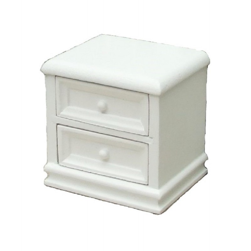 Dolls House White Bedside Chest 2 Drawer Nightstand Miniature Bedroom Furniture