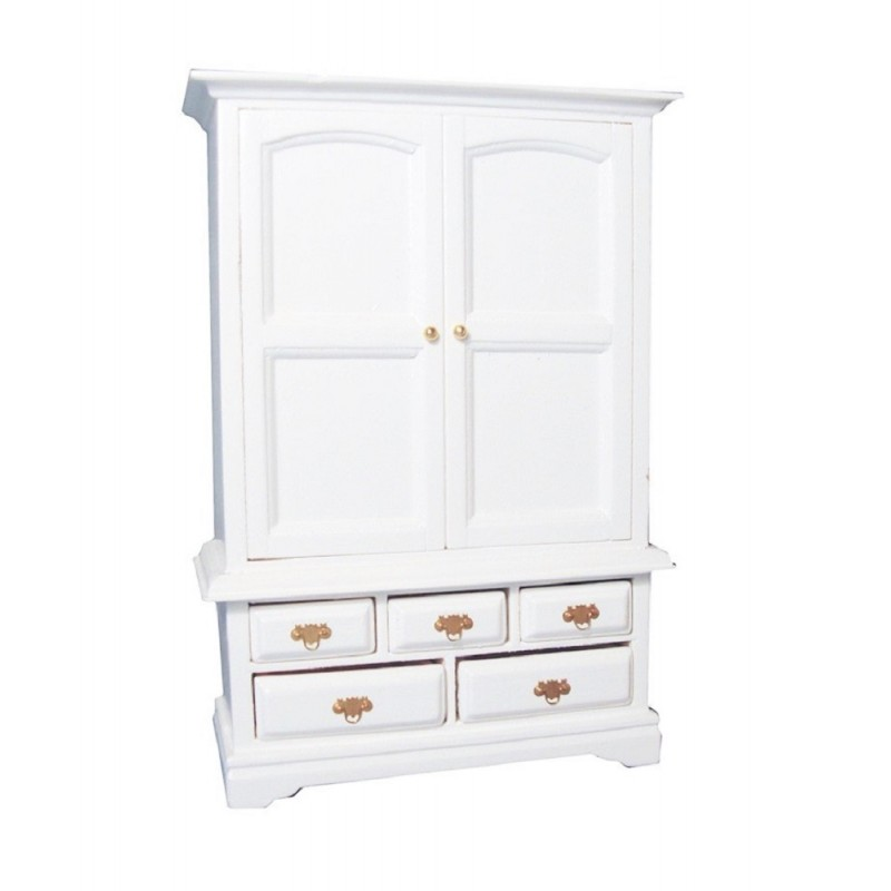 Dolls House White Linen Cupboard Armoire  Miniature 1:12 Bedroom Furniture