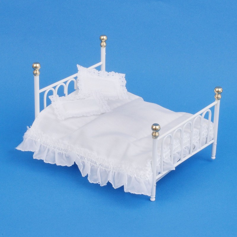 Dolls House White Cast Iron Double Bed & Bedding Miniature Bedroom Furniture