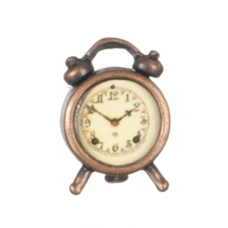 Dolls House Miniature 1:12 Scale Bedroom Accessory Antique Brass Alarm Clock