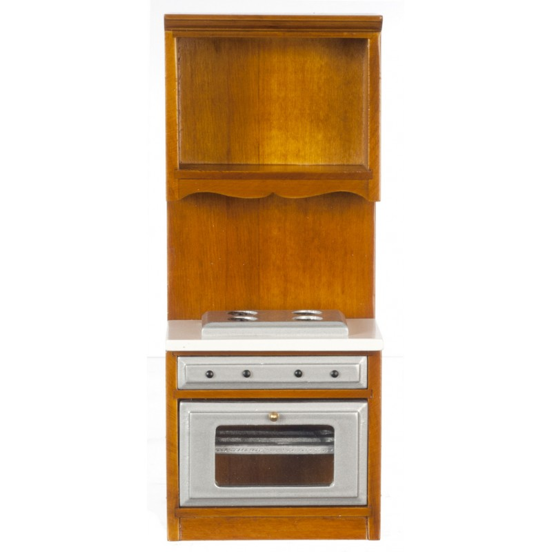 Dolls House Walnut Fitted Oven & Hob Miniature Kitchen Cooker Furniture