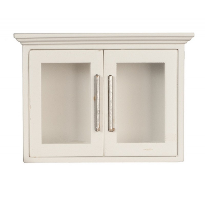 Dolls House Miniature Kitchen Furniture White Wooden Wall Cabinet Display Unit