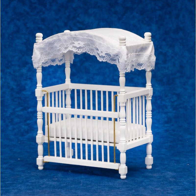 Dolls House Miniature 1:12 Scale Nursery Baby Furniture White Wooden Canopy Cot