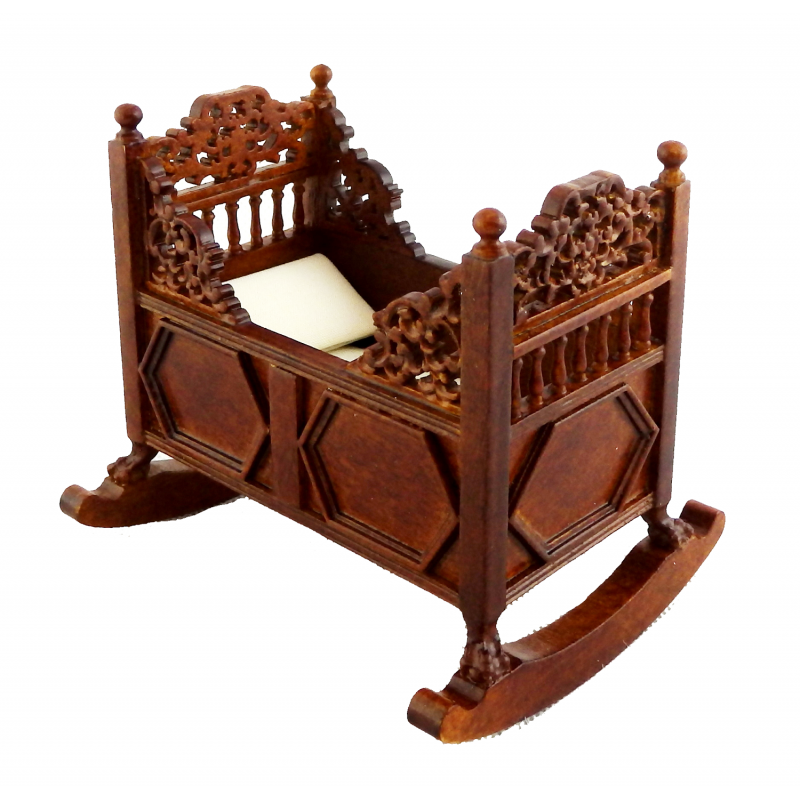 Dolls House Walnut 15th C. Tudor Rocking Cradle Cot Crib JBM Nursery Furniture