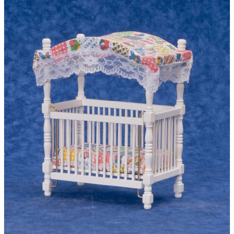 Dolls House Patchwork Canopy Cot Crib Miniature White Nursery Baby Furniture