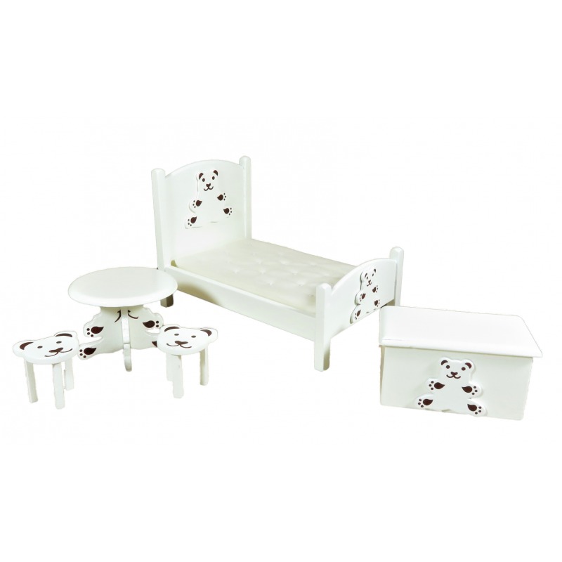 Dolls House Cream Teddy Bear Bedroom Nursery Furniture Set with Childs Bed